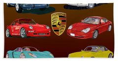 Six Sexy Slippery Porsche Automobiles Beach Towel