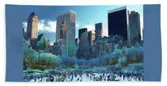 Skating Fantasy Wollman Rink New York City Beach Towel by Tom Wurl