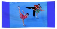Skating. Best Christmas Gift Beach Towel by Oksana Semenchenko