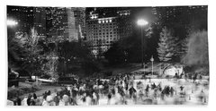 New York City - Skating Rink - Monochrome Beach Towel
