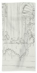 Sketch Of A Formal Dining Room Beach Towel