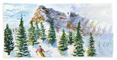 Skier In The Trees Beach Towel