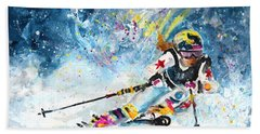 Skiing 03 Beach Towel