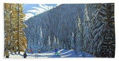 Skiing  Beauregard La Clusaz Beach Towel