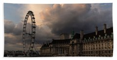 Sky Drama Around The London Eye Beach Sheet