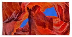Beach Towel featuring the photograph Sky Eyes In Antelope Canyon by Greg Norrell