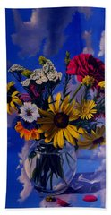 Sky Flowers Beach Towel