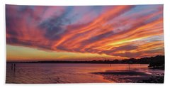 Sky On Fire Beach Sheet by Jane Luxton