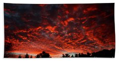 Sky On Fire Beach Sheet by Kenny Glotfelty