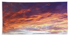 Sky On Fire Beach Sheet by Les Cunliffe