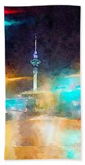 Sky Tower By Night Beach Towel