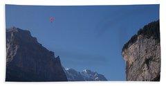 Skydiver Over Lauterbrunnen Beach Towel