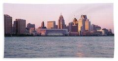 Skyline Detroit Mi Usa Beach Towel
