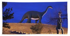 Skyline Drive Dinosaur Statues At Dawn Beach Towel
