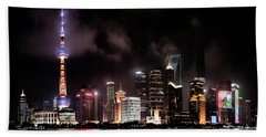 Skylines Lit At Night, Oriental Pearl Beach Towel