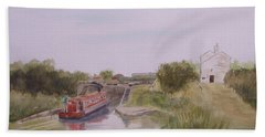 Beach Towel featuring the painting Slapton Lock by Martin Howard