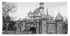 Sleeping Beauty Castle Disneyland Side View Bw Beach Towel by Thomas Woolworth
