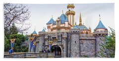 Sleeping Beauty Castle Disneyland Side View Beach Sheet by Thomas Woolworth