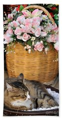 Sleeping Cat At Flower Shop Beach Sheet