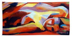 Beach Towel featuring the painting Sleeping Lady by Helena Wierzbicki