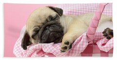 Sleeping Pug In Pink Basket Beach Towel