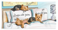 Beach Towel featuring the mixed media Sleeps With Yorkies by Catia Lee