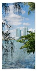Slice Of Miami Skyline Beach Towel by Robert VanDerWal