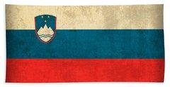 Slovenia Flag Vintage Distressed Finish Beach Towel