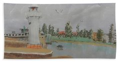 Small Lighthouse At Wollongong Harbour Beach Towel