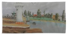 Small Lighthouse At Wollongong Harbour Beach Towel by Pamela  Meredith