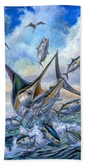 Small Tuna And Blue Marlin Jumping Beach Towel