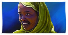 Beach Towel featuring the painting Smiling Lady by Anthony Mwangi