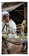 Smiling Man Drives Horse Carriage In Lahore Pakistan Beach Towel