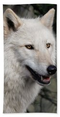 Smiling White Arctic Wolf Beach Towel