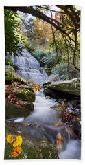 Smoky Mountain Waterfall Beach Towel