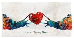 Snail Art - Love Grows Here - By Sharon Cummings Beach Towel