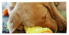 Snoozing With My Duck Fell Asleep On A Job Puppy Beach Towel