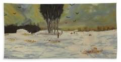 Beach Towel featuring the painting Snow At Christmas by Pamela  Meredith
