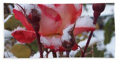 Snow Blooms Beach Towel