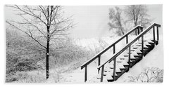 Snow Cover Stairs Beach Towel