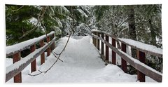 Snow Covered Bridge Beach Towel