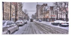 Snow Covered High Street And Cars In Morgantown Beach Towel by Dan Friend