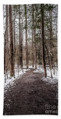 Beach Towel featuring the photograph Snow Covered Trail by Debbie Green