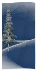 Snow Covered Tree And Mountains Color Beach Towel