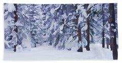 Snow-dappled Woods Beach Towel by Don Schwartz