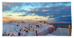 Snow Dunes At Sunrise Beach Towel