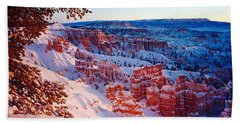 Snow In Bryce Canyon National Park Beach Towel