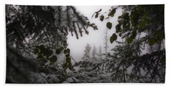 Snow In Trees At Narada Falls Beach Towel