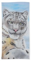 Beach Towel featuring the painting Snow Leopard by Thomas J Herring
