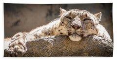 Snow Leopard Relaxing Beach Sheet
